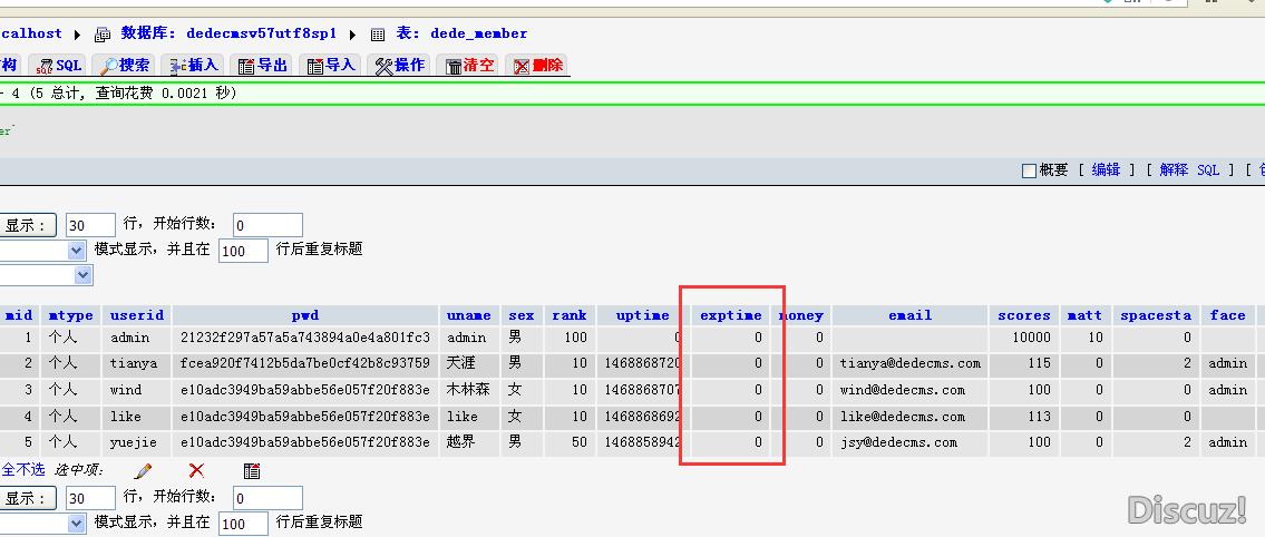 dedecms 开发中由一个字段 exptime 遇到的问题
